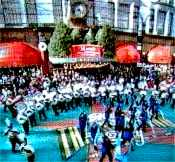 Band performing in front of Macy's Thanksgiving Day Parade